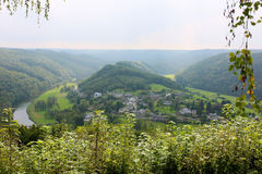 Panoramic view over village in Belgian Ardennes Stock Image