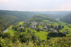 Panoramic view over village in Belgian Ardennes Stock Images