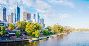 Panoramic view over Yarra River and City Skyscrapers in Melbourne, Australia Royalty Free Stock Image