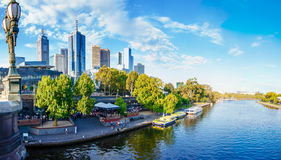 Panoramic view over Yarra River and City Skyscrapers in Melbourne, Australia. Melbourne, Australia - February 20, 2015: Panoramic view over Yarra River and City Royalty Free Stock Photo
