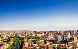 Panoramic view over Yerevan City, view with majestic Ararat mountain, Armenia. View over Yerevan City, view with majestic Ararat mountain, Armenia royalty free stock images