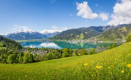 Panoramic view over Zell am See with Kitzsteinhorn and Schmitten Stock Image