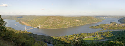Panoramic view overlook in autumn of Bear Mountain Bridge and Hudson Valley and River at Bear Mountain State Park, New York Royalty Free Stock Image