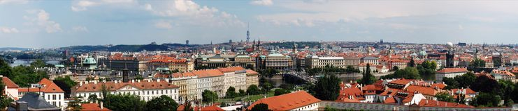 Panoramic view overlooking the city of Prague.  Royalty Free Stock Photography