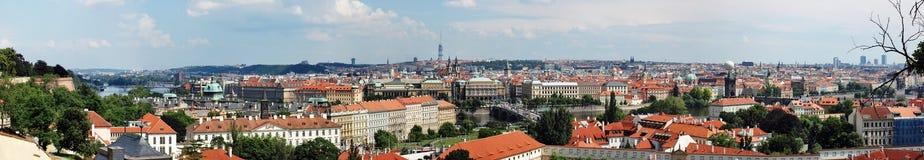 Panoramic view overlooking Prague. Panoramic view overlooking the beautiful city of Prague in the Czech Republic Royalty Free Stock Photography
