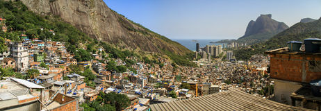 Panoramic view overlooking Rio from the Rocinha Favela, Rio de Janeiro, Brazil. Rocinha (little farm) is the largest favela in Brazil, and is located in Rio de royalty free stock images