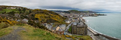 Panoramic view overlooking the university town of Aberystwyth in Stock Photography