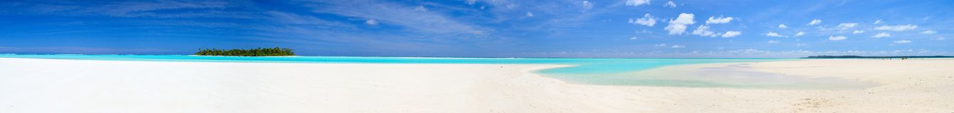 Panoramic view of a pacific atoll Royalty Free Stock Photo