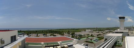 Panoramic view of the Pacific Ocean from the roof terrace of Ishigaki airport Stock Images