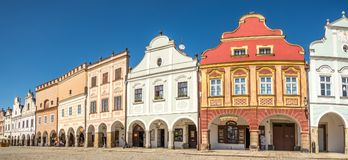 Panoramic view at the Painted houses in Telc - Moravia,Czech republic Royalty Free Stock Image