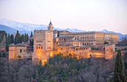 Panoramic View of the Palace of the Alhambra at sunset, Granada, Spain Stock Photography