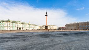 Panoramic view Palace Square in St Petersburg city. Panoramic view of Palace Square (Dvortsovaya Ploshchad) in Saint Petersburg city in spring Royalty Free Stock Photo