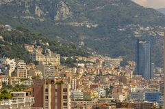 Panoramic view of palaces and skyscrapers of Monaco in a summer day. Cote d`Azur French Riviera is situated in the southern eastern part of the mediterranean royalty free stock image