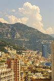 Panoramic view of palaces and skyscrapers of Monaco in a summer day. Cote d`Azur French Riviera is situated in the southern eastern part of the mediterranean royalty free stock photography