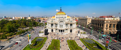 Panoramic view of the Palacio de Bellas Artes in Mexico City. Panoramic view of the Palacio de Bellas Artes , the Alameda Central and the Historic Center of Stock Photos