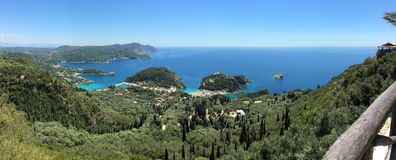 Panoramic view of Palaiokastritsa. Corfu island, Ionian Sea, Greece. Palaiokastritsa is a village in northwestern Corfu. Corfu has been suggested to be the Stock Photography