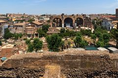 Panoramic view from Palatine Hill to ruins of Roman Forum in city of Rome, Italy. ROME, ITALY - JUNE 24, 2017: Panoramic view from Palatine Hill to ruins of Stock Images