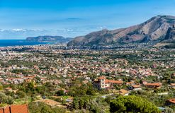Panoramic view of Palermo city from Monreale, Sicily. royalty free stock photography