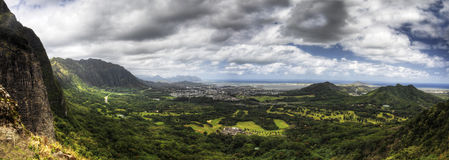 A panoramic view from the Pali Lookout in Hawaii Stock Photos