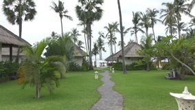 Panoramic view of a palm tree the sea and the pool on tropical the resort of Bali Indonesia.  stock video footage