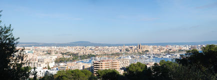 Panoramic view of Palma de Mallorca Bay Stock Photos