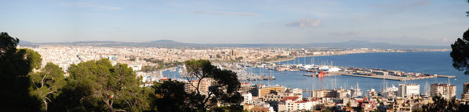 Panoramic view of Palma de Mallorca Bay. From Bellver Castle (Spain Stock Photo