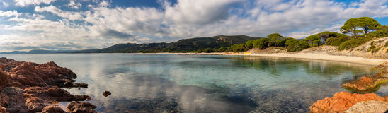 Panoramic view of Palombaggia beach in Corsica Stock Photos