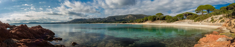 Panoramic view of Palombaggia beach in Corsica stock photography