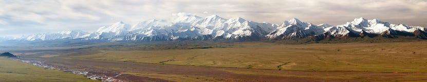 Panoramic view of Pamir mountain and Pik Lenin Royalty Free Stock Photos