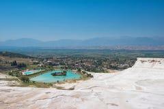 Panoramic view of Pammukale Stock Photography