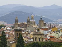 Panoramic view of Pamplona on the background of mountains. Navarra, Spain Stock Photos