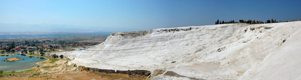 Panoramic view of Pamukkale in Turkey. Panoramic view of the white mineral springs of Pamukkale in Turkey Royalty Free Stock Image
