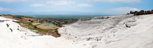 Panoramic view of Pamukkale, Turkey. Royalty Free Stock Image