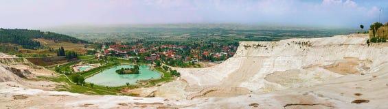 Panoramic view of Pamukkale. Turkey stock photography