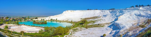 Panoramic view of Pamukkale, Turkey Royalty Free Stock Images