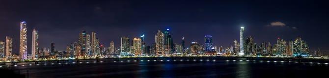 Panoramic view of Panama City Skyline at night - Panama City, Panama Royalty Free Stock Image