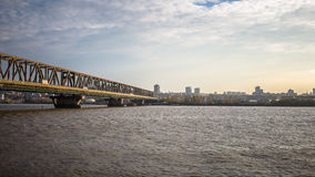 Panoramic View with Pancevo bridge across Danube river - Be. Panoramic City View with Pancevo bridge across Danube river - Belgrade, Serbia Royalty Free Stock Image