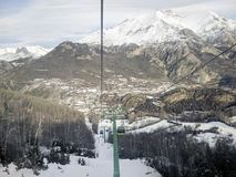 Panoramic view of Panticosa Spain. Panoramic view of Panticosa from chairlift Royalty Free Stock Image