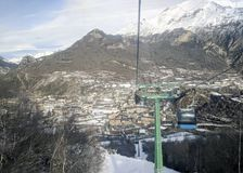 Panoramic view of Panticosa Spain. Panoramic view of Panticosa from chairlift Stock Image
