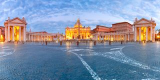 Saint Peter Cathedral in Rome, Vatican, Italy. Panoramic view of The Papal Basilica of St. Peter in the Vatican or Saint Peter Cathedral during morning blur royalty free stock image