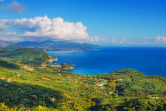 A panoramic view of Parga, as seen from Ali Pasha Castle Royalty Free Stock Image