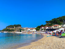 Panoramic view of Parga greek sea resort at Ionian sea, Greece Stock Images