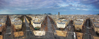 Panoramic view of Paris from the Arc de Triomphe.  Stock Image