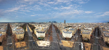 Panoramic view of Paris from the Arc de Triomphe Royalty Free Stock Photo