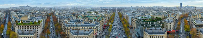 Panoramic view of Paris from the Arc de Triomphe. Autumn. Rain. Sun Stock Photos