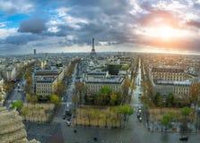 Panoramic view of Paris from the Arc de Triomphe. Autumn. Rain. Sun Stock Photography