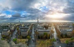 Panoramic view of Paris from the Arc de Triomphe. Autumn. Rain. Sun Stock Image