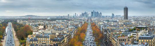 Panoramic view of Paris from the Arc de Triomphe. Autumn. Rain. Sun Royalty Free Stock Photo