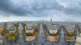 Panoramic view of Paris from the Arc de Triomphe. Direction of D. Efense. Autumn. Rain Royalty Free Stock Images