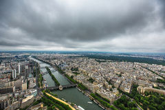 Panoramic view of Paris from the Eiffel tower Royalty Free Stock Photos